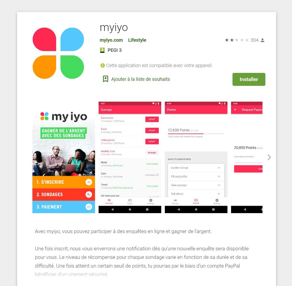 Avis sur l'application myiyo