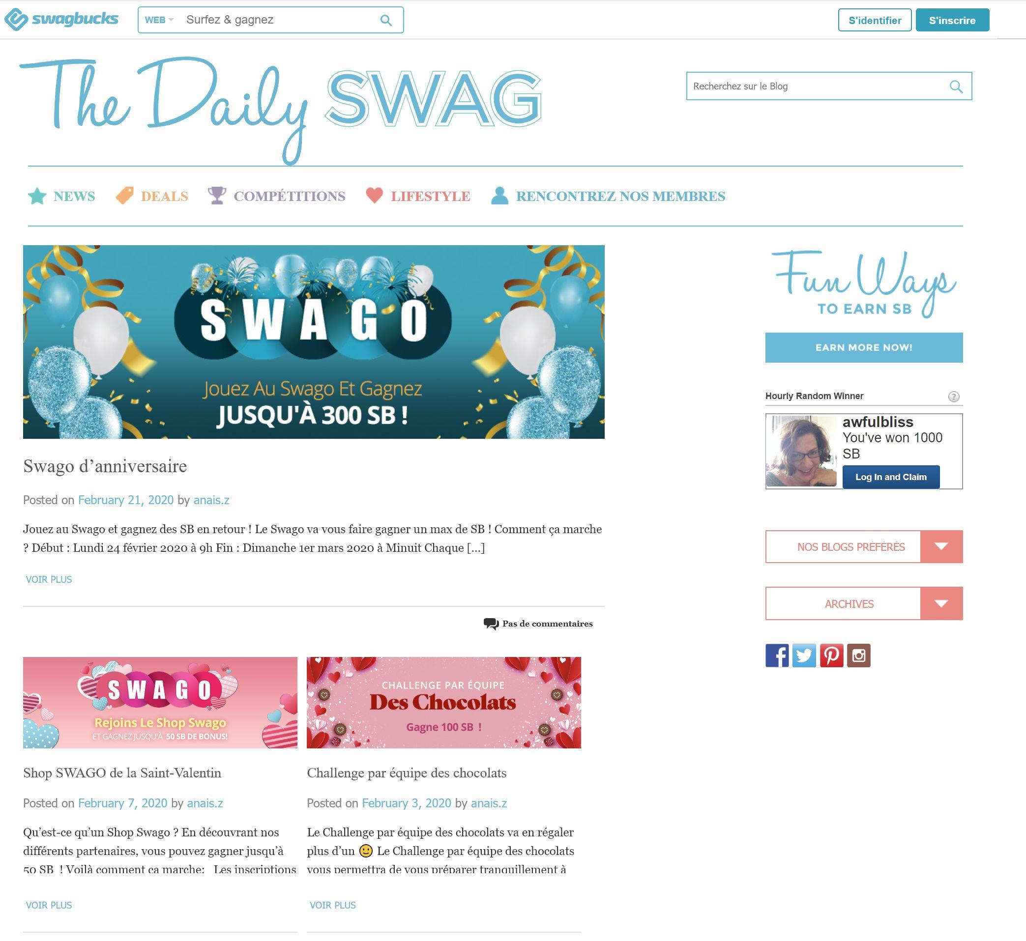 le blog et magazine de swagbucks.com